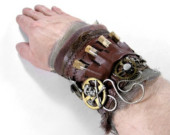 Leather & Textile Wrist Cuff with Vials and Skull